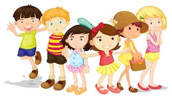 Grupp av pojkar och flickor