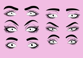 Kvinna ögonfransar Clipart Ställ vektor illustration