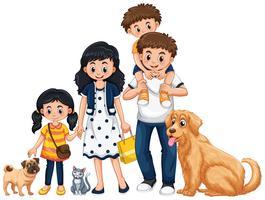 En familj på vit bakgrund