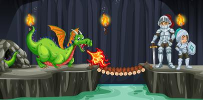 Ritterkampf mit dem Drachen in der dunklen Höhle