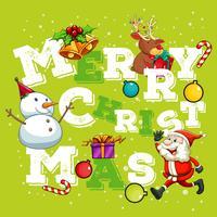 Weihnachtsthema mit Weihnachtsmann und Schneemann vektor