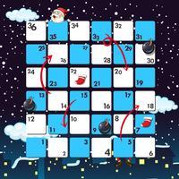 Boardgame-Vorlage mit Santa in der Nacht vektor