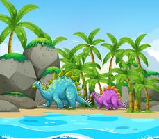 Dinosaurier neben dem Strand vektor