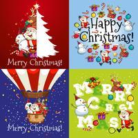Julkort i fyra mönster vektor
