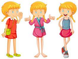 Mädchen in drei Kleidern vektor