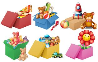 Sex lådor med leksaker vektor