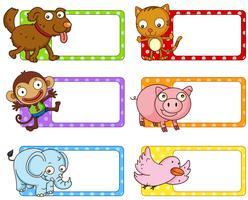 Polkadot-Etiketten mit niedlichen Tieren vektor