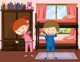 Pojke och flicka övning i sovrummet