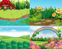 Fyra scener med grönsaker och blommor