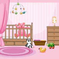 Sovrumscen med rosa teddybjörn i babycot
