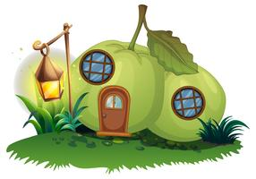 Szene mit Guavenhaus mit Laterne