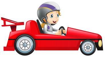 Kvinna kör i röd racerbil