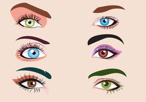 Ögonfransar Clipart Ställ Vektor Illustration
