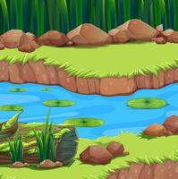Flodscenen med vattenliljor flytande