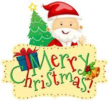 Weihnachtsmotiv mit Weihnachtsmann und Weihnachtsbaum vektor
