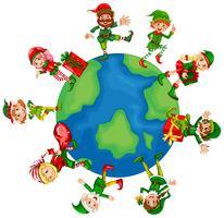 Weihnachtselfen auf der ganzen Welt