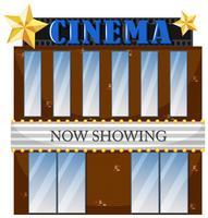 Ein Kinogebäude auf weißem Hintergrund vektor