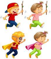 Kinder, die auf weißem Hintergrund spielen und laufen vektor