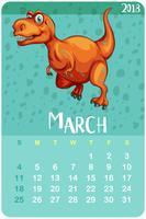 Kalendervorlage für März mit T-Rex
