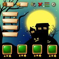 Spielschablone mit Halloween-Hintergrund vektor