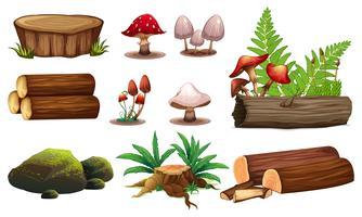 En uppsättning av träelement
