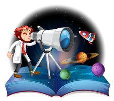 Wissenschaftler, der das Teleskop betrachtet vektor