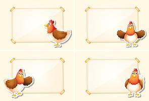 Vorlage mit vier Rändern mit Hühnern