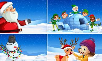 Ställ av snö jul scener vektor