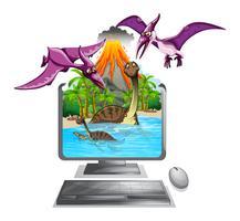 Datorskärm med dinosaurier i sjön