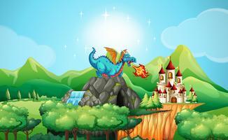 Drachen, der Feuer über dem Schloss durchbrennt