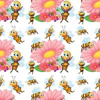 Sömlösa bin som flyger runt blommorna vektor