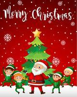 Santa und Elf Frohe Weihnachten Vorlage vektor