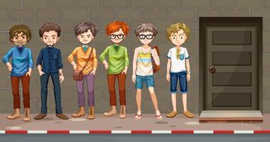 Männer stehen vor dem Gebäude vektor