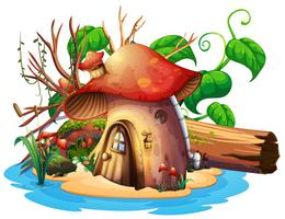Svamphus med trädgård på ön vektor