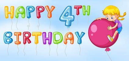 Lycklig 4: e födelsedagskortmall vektor