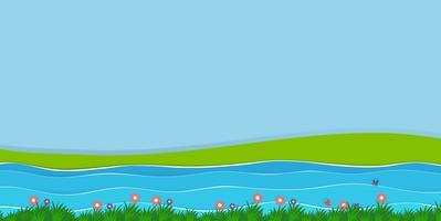 Bakgrundsscen med fält och flod