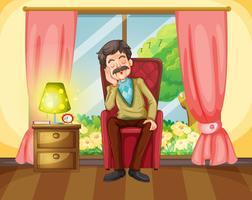 Alter Mann, der auf Sofa ein Schläfchen hält