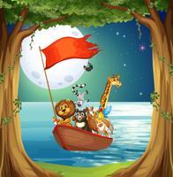 Tiere und Boot