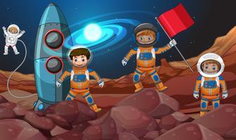 Fyra astronauter i rymden vektor