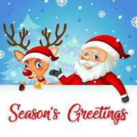 Hjort och Santa säsonger hälsningar vektor