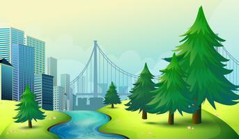 City byggnader utsikt med naturen