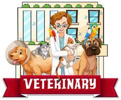 Tierärzte mit Haustieren vektor