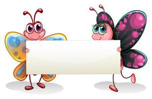 Två färgglada fjärilar som håller en tom banner