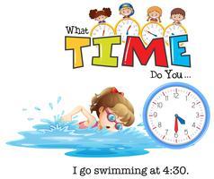 En tjej ska simma klockan 4:30 vektor