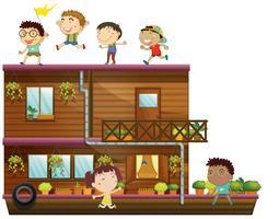 Barn och båt vektor
