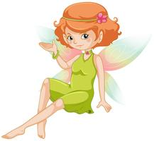 Süße Fee im grünen Kleid