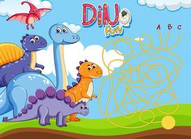 Dino Labyrinth Puzzle Spielvorlage
