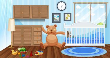 Schlafzimmerszene mit weißem Babybett und Puppen
