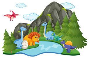 Många dinosaurier i naturen vektor