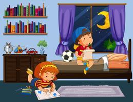 Junge und Mädchen, die Hausarbeit im Schlafzimmer tun